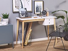 Home Office Desk White and Light Wood Legs 106 x