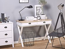 Home Office Desk White and Light Wood MDF 103 x 50