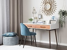 Home Office Desk White with Dark Wood 120 x 58 cm