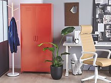 Home Office Storage Cabinet Red Stainless Steel 2
