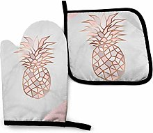 Home Oven Mitts and Potholders Set, Rose Gold