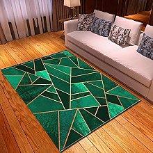 HOME Rectangle Floor Rug Emerald Green Gold Line