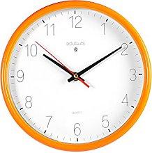 Home Round Plastic Wall Clock, White/Orange, 24cm