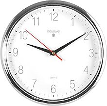 Home Round Wall Clock, Metal, White/Silver, 26cm