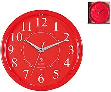 Home Round Wall Clock, Plastic, red, 24cm