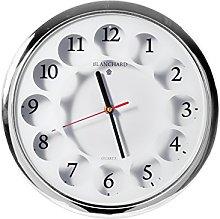 Home Round Wall Clock, Plastic, silver/white,
