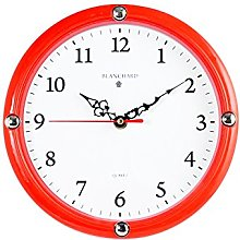Home Round Wall Clock, Plastic, white/red, 23.5cm