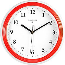Home Round Wall Clock, Plastic, white/red, 26cm