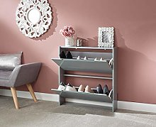 Home Source 2 Tier Shoe Cabinet Grey