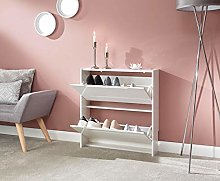 Home Source 2 Tier Shoe Cabinet White
