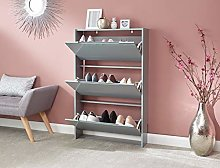 Home Source 3 Tier Shoe Cabinet Grey