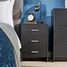 Home Source Bedside Table Black 3 Drawer Bedside