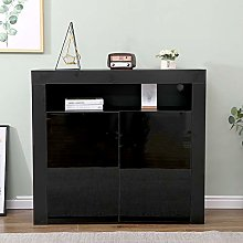 Home Source Black Gloss Sideboard Cabinet Cupboard