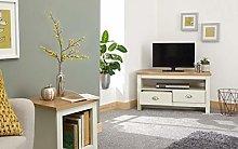 Home Source Corner TV Stand Two Tone Oak Effect