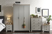 Home Source - Country Pine MDF 4 Pc Bedroom Set -