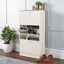 Home Source Cream Oak 3 Door Wooden Shoe Cabinet,