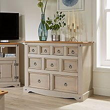 Home Source Grey Corona Chest of Drawers Pine