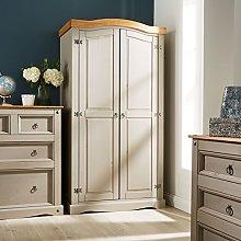 Home Source Grey Corona Pine Wardrobe 2 Door