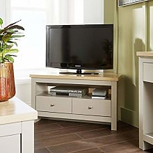 Home Source Grey Oak Corner TV Stand Two Tone 2
