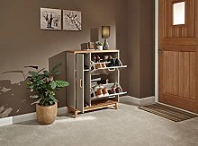 Home Source Grey Scandi Style Shoe Cabinet with