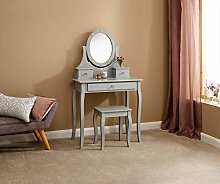 Home Source LED Dressing Table Stool Grey Makeup