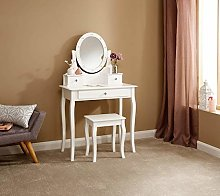 Home Source LED Dressing Table Stool White Makeup
