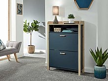 Home Source Light Oak Shoe Storage Cabinet 2 Door