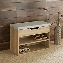 Home Source Malmo Compact Oak Wooden 2 Tier Shoe