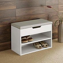 Home Source Malmo Compact White Wooden 2 Tier Shoe