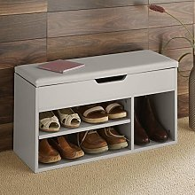 Home Source Malmo Large Grey Wooden 2 Tier Shoe