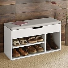 Home Source Malmo Large White Wooden 2 Tier Shoe