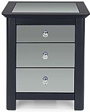 Home Source Mirrored Bedside Table Cabinet Bedroom