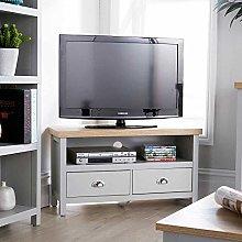 Home Source Oak Corner TV Stand Two Tone Cabinet