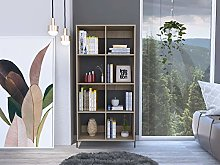 Home Source Oak Wide Bookcase Cabinet with 8