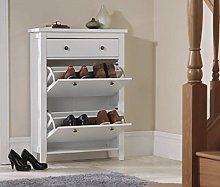 Home Source Shoe Cupboard White 2 Door Pull Down