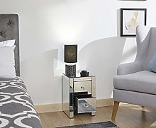 Home Source Slim Bedside Cabinet Clear Glass