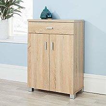Home Source Sonoma Oak Shoe Cabinet Storage 2 Door