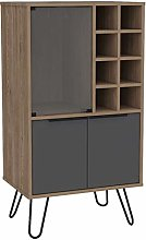 Home Source Two Tone Bleached Oak Wine Cabinet and