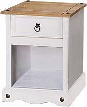 Home Source White Corona Pine Bedside Cabinet 1