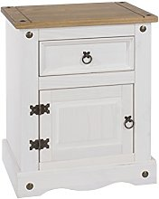 Home Source White Corona Solid Pine Bedside