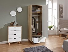 Home Source White Oak Storage Wardrobe 1 Door Cut