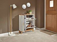 Home Source White Scandi Style Shoe Cabinet with