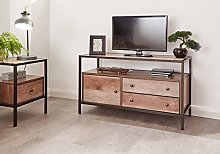 Home Source Wide Two Tone TV Unit Cabinet & Drawer