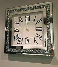 home stuff LOOSE DIAMANTE MIRRORED WALL CLOCK