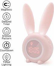 Homealexa Kids Light Alarm Clock Cute Rabbit Wake