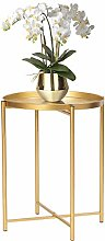 Homebeez Tray Metal End Table, Gold Round Foldable
