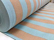 HomeBuy Aqua and Beige Striped Fabric - Sofia