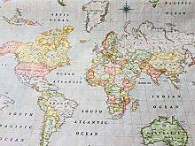 HomeBuy BEIGE WORLD MAP Designer Curtain