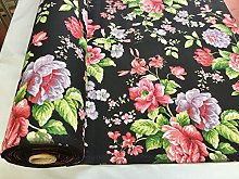 HomeBuy BLACK Floral Rose Print Designer Curtain