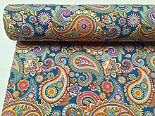 HomeBuy BLUE PAISLEY Upholstery Curtain Cotton